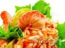 Рецепта Салата с боб, паста орзо (арпа фиде) и скариди